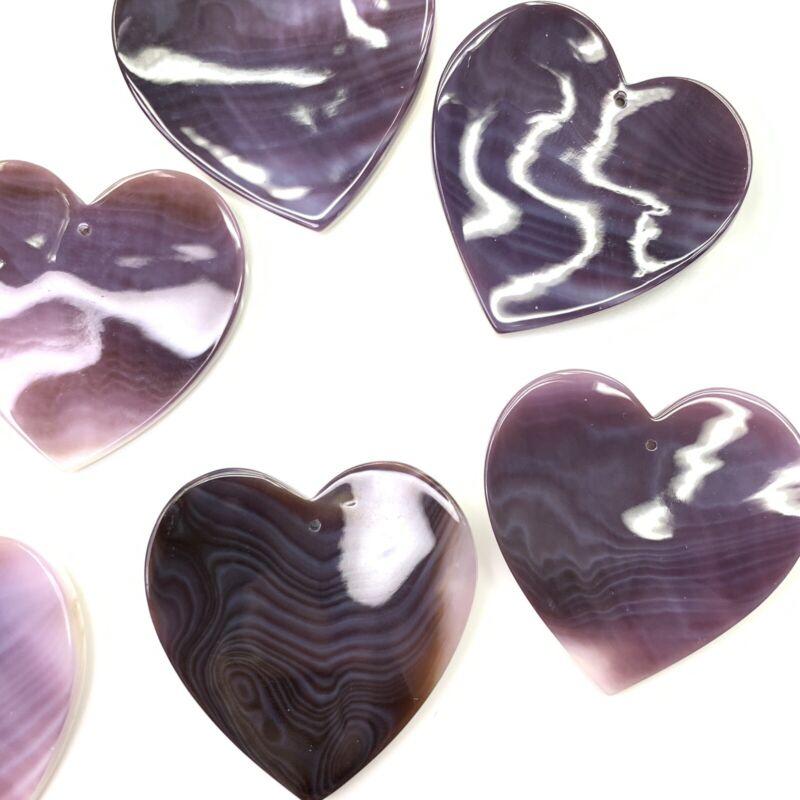 2 PC Natural 34mm Purple Wampum Quahog Shell Heart Pendant Beads HQ - NEW DIY