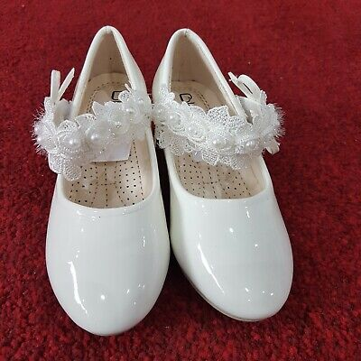 Girls Shoes (White-66-12) Party, Flower-Girl, Bridesmaid, Communion, Christening