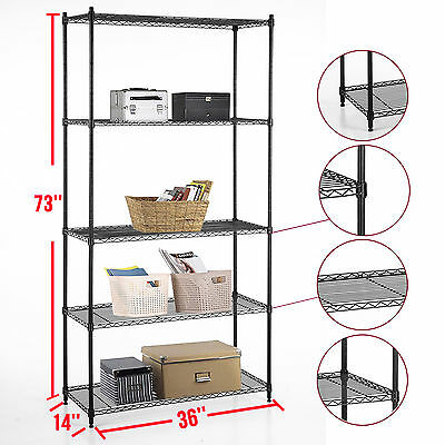 Heavy Duty 5 Tier Layer Wire Steel Shelving Adjustable 73x36x14 Storage Rack