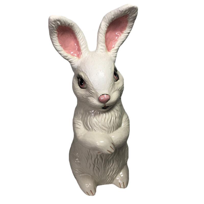 "Vintage Ceramic Bunny Rabbit 1970s 19"" Hand Painted"