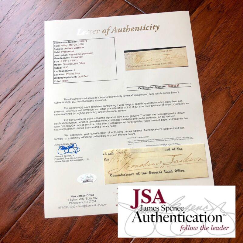 ANDREW JACKSON * JSA LOA * Autograph Cut Signature Signed * As President