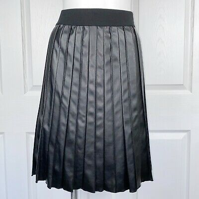 Alfani Black Faux Leather Pleated Skirt Lined Size 6 New With Tags Vegan
