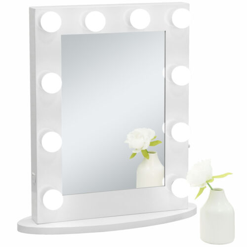 Hollywood Makeup Vanity Mirror w/Lights Bedroom Lighted Standing w/ 12 LED Bulbs Health & Beauty
