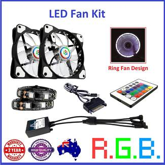 RGB LED Fan Kit 120mm Fans Led Strips Remote Control