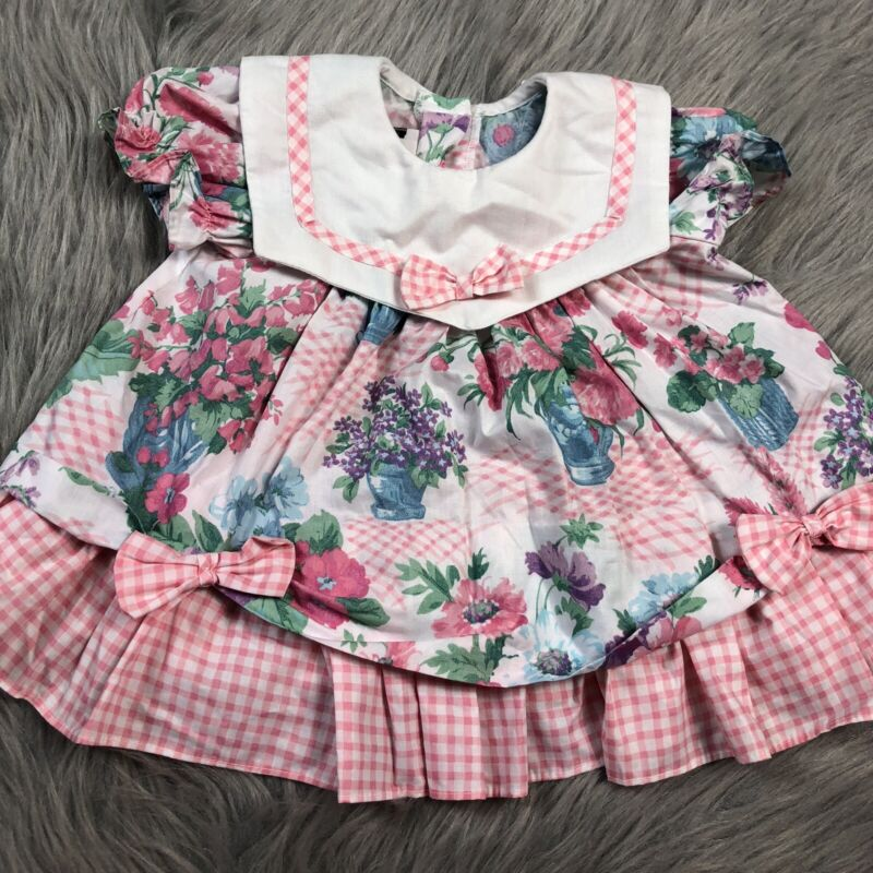 Vintage Baby Girls Pink White Checkered Floral Ruffle Bow Dress