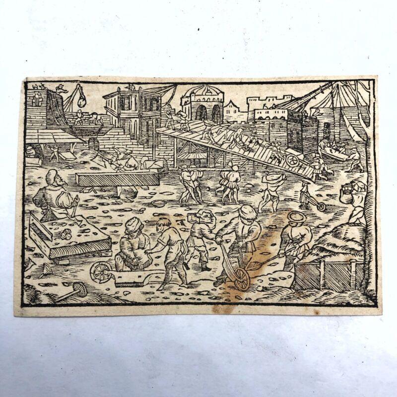 RARE Ca. 1500 Woodcut Print Munsters Cosmographia German Wood Block Incunabula J