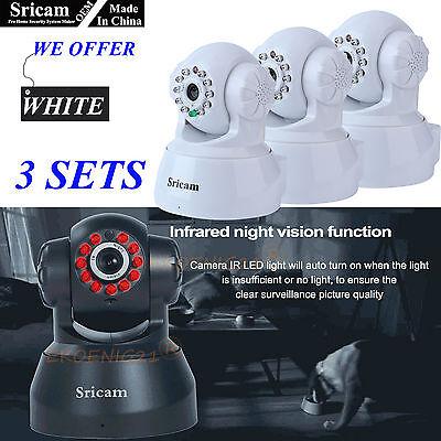 3 Set Of Oem Sricam 720P Wireless Ip Camera Wifi Security Night Vision Cam White