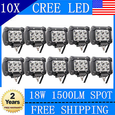 10X 4inch 18W CREE Led Work Light PODs Cube Off Road 4WD ATV Boat SUV Ford Jeep