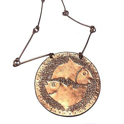 60s -70s Jewelry – Necklaces, Earrings, Rings, Bracelets Vintage 1960s Copper PISCES Zodiac Fish Medallion Necklace Hippie MCM 60s 70s $34.50 AT vintagedancer.com