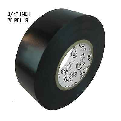 Tapessupply 20 Rolls Black Electrical Tape 34 X 66 Ft Free Shipping