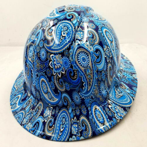New Full Brim Hard Hat Custom Hydro Dipped Blue Brad Paisleys . Free Shipping! 3