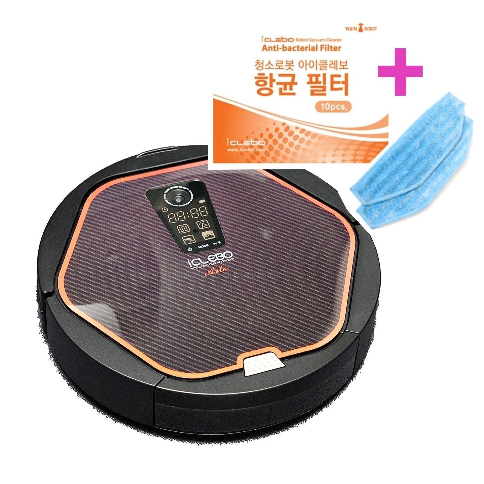 iCLEBO ARTE YCR-M05-10 HEPA Robotic Vacuum Cleaner Modern Black + Filter Mop Set