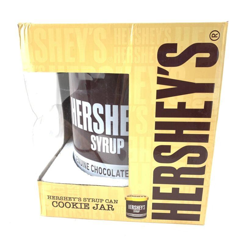 Hersheys Syrup Can Cookie Jar With Lid Ceramic Genuine Chocolate Flavor Nib