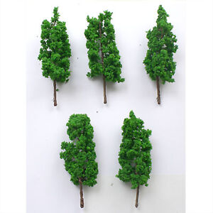 5 x Scale Model Thin Green Trees -Architecture/Train Layout Scenery 4.5/8/10cm