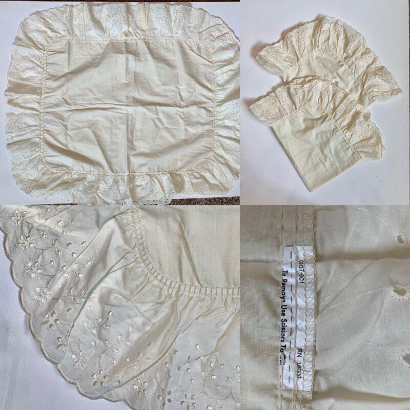 2 Vintage Ecru Ivory Ruffle Standard Pillow Sham Case Eyelet Border