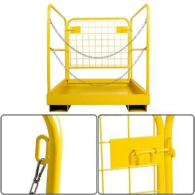 36x36 Forklift Safety Cage Steel Work Platform Lift Aerial Rails Basket 900lb