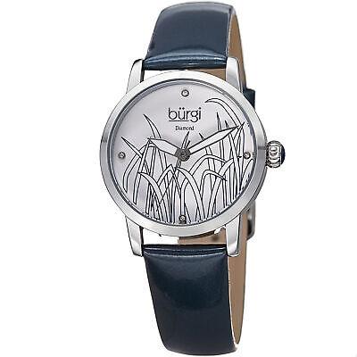 Women's Burgi BUR173BU Matte Diamond Dial Reed Design Genuine Leather Watch