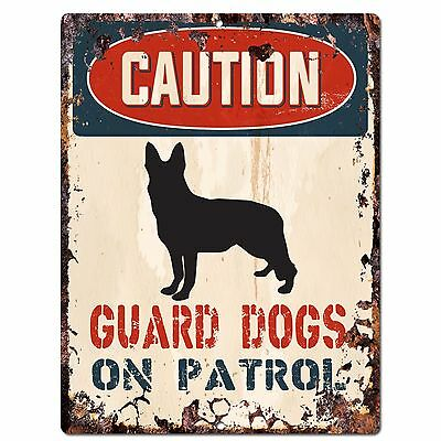 PP2267 CAUTION GUARD DOGS ON PATROL Plate Chic Sign Home Store Wall Decor Gift