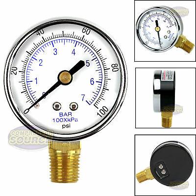Air Compressor Pressure Hydraulic Gauge 2 Face Side Mount 14 Npt 0-100 Psi