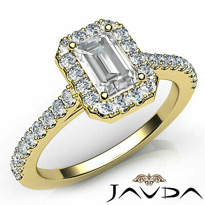 Halo French U Pave Women's Emerald Natural Diamond Engagement Ring GIA G VS2 1Ct 7