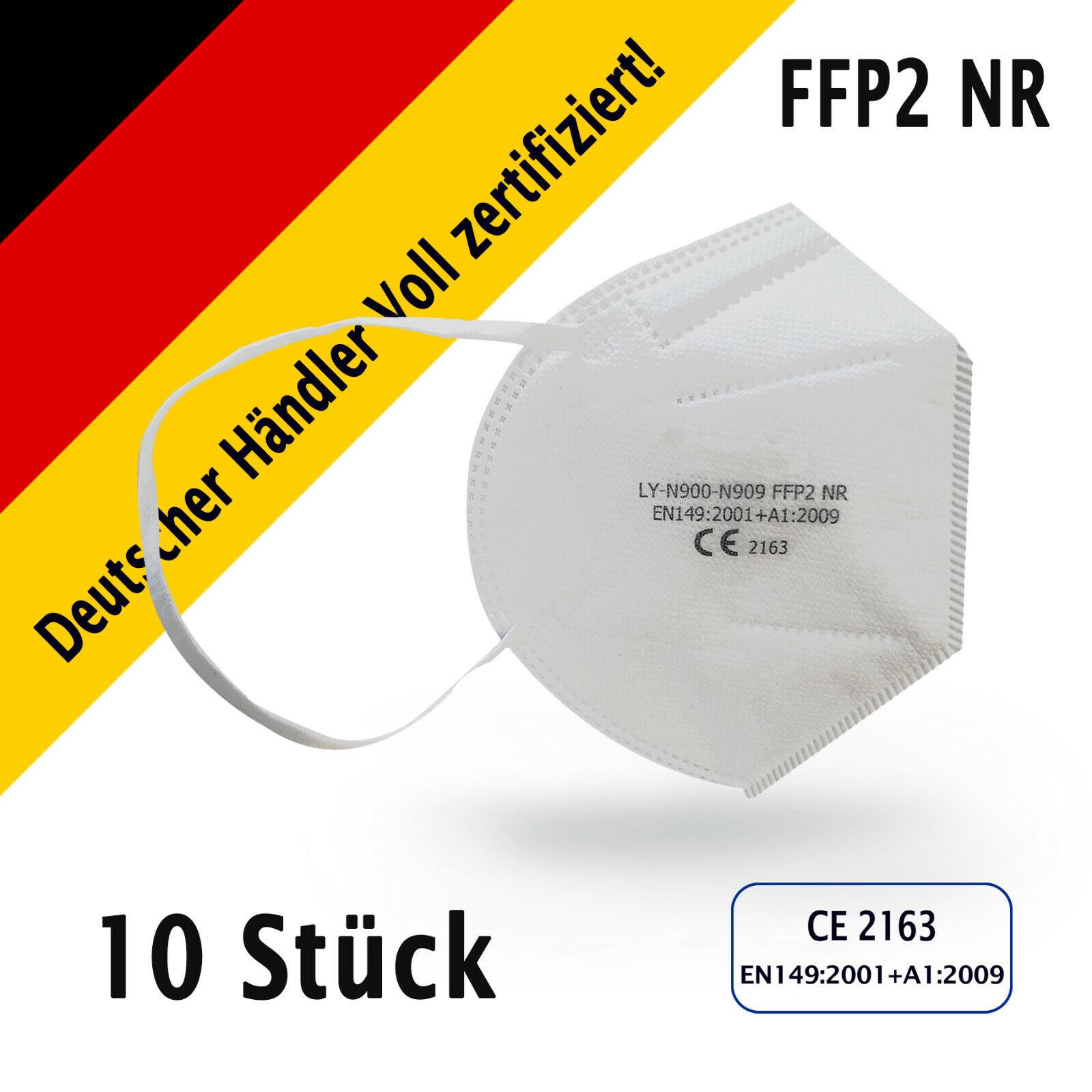 10 x FFP2 NR Maske Mundschutz Masken Atemschutz 5-lagig CE Voll Zertifikat