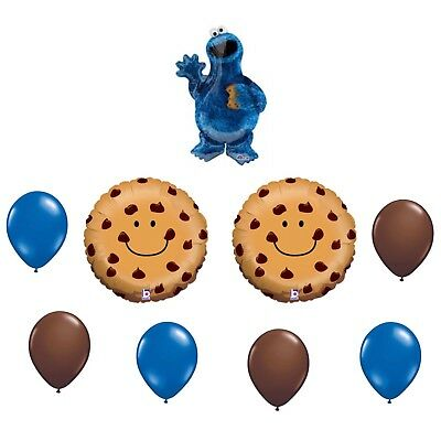 9 Piece Cookie Monster Sesame Street Balloon Bouquet Birthday Party Decorations - Cookie Monster Birthday Decorations