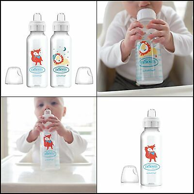 2 Count Dr. Brown's Options+ Sippy Spout Baby Bottles, Fox & Lion, 8 Ounce