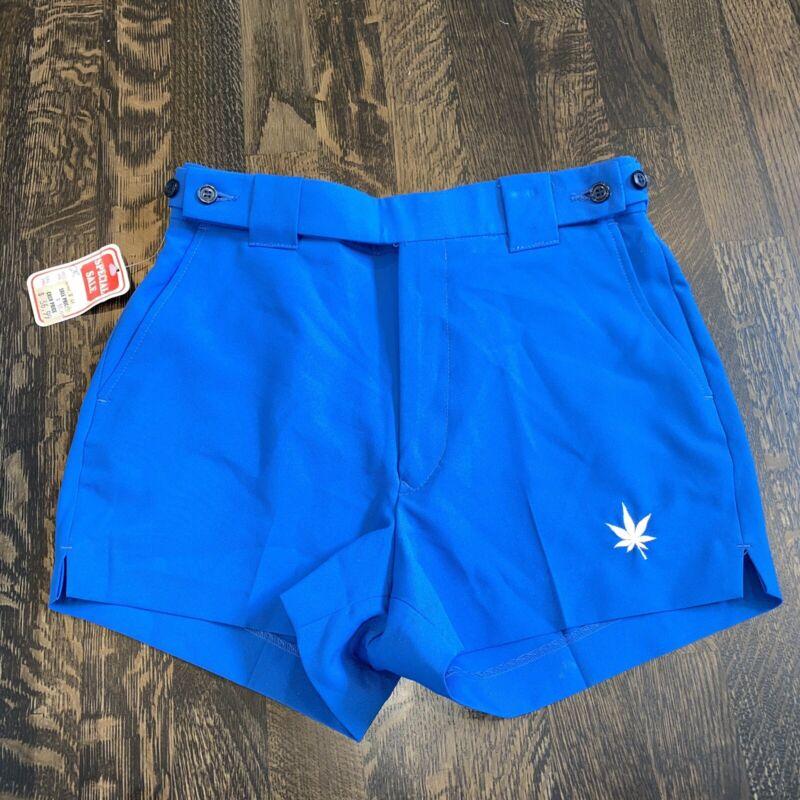 "NEW Vtg 70s 80s Boast TENNIS SHORTS Polyester Blue MENS 28 High Waist 2.5"" NOS"