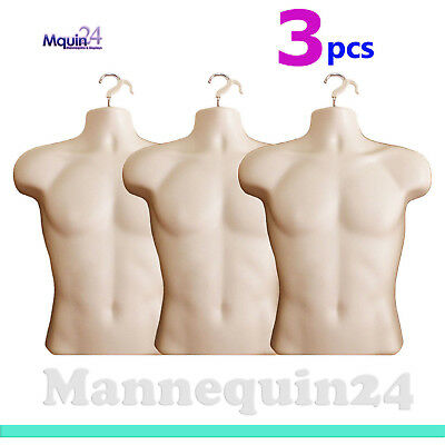 3 Pack - Male Mannequin Torsos Flesh Hanging Hooks- 3 Men Display Dress Forms