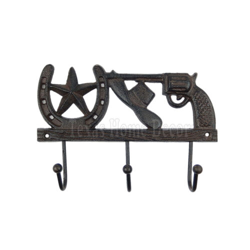 Hat Horseshoe Star Pistol Key Hook Cast Iron Towel Coat Hanger Rustic Western
