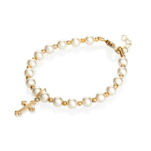 Swarovski Cream Pearls with 14kt Gold Filled Beads and Cross Charm Bracelet