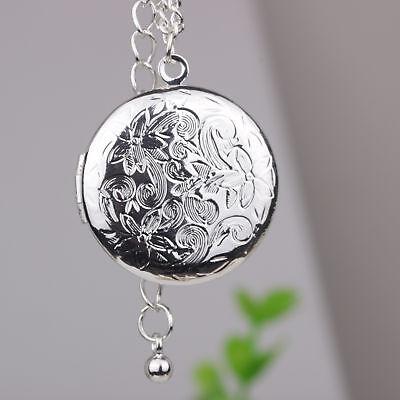 Flower Pendant Locket - 18'' 925 Silver Plated Round Fashion Flower Photo Locket Pendant Necklace Women