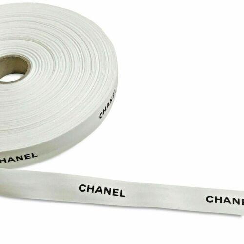 "Authentic Chanel | White Matte Ribbon Gift Wrap | 48 Inch | 1"" Wide | Black Logo"