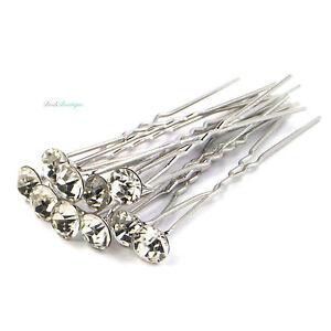 Bridal Wedding Prom Silver Crystal Diamante Rhinestone Hair Pins Clips Grips
