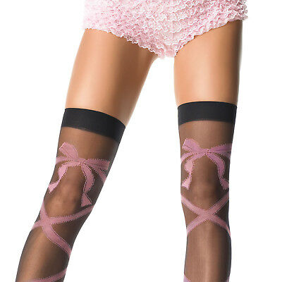 Leg Avenue Lycra Sheer (FASHION LYCRA SHEER THIGH HIGH STOCKING PINK WOVEN CRISS CROSS BOW BY LEG AVENUE)