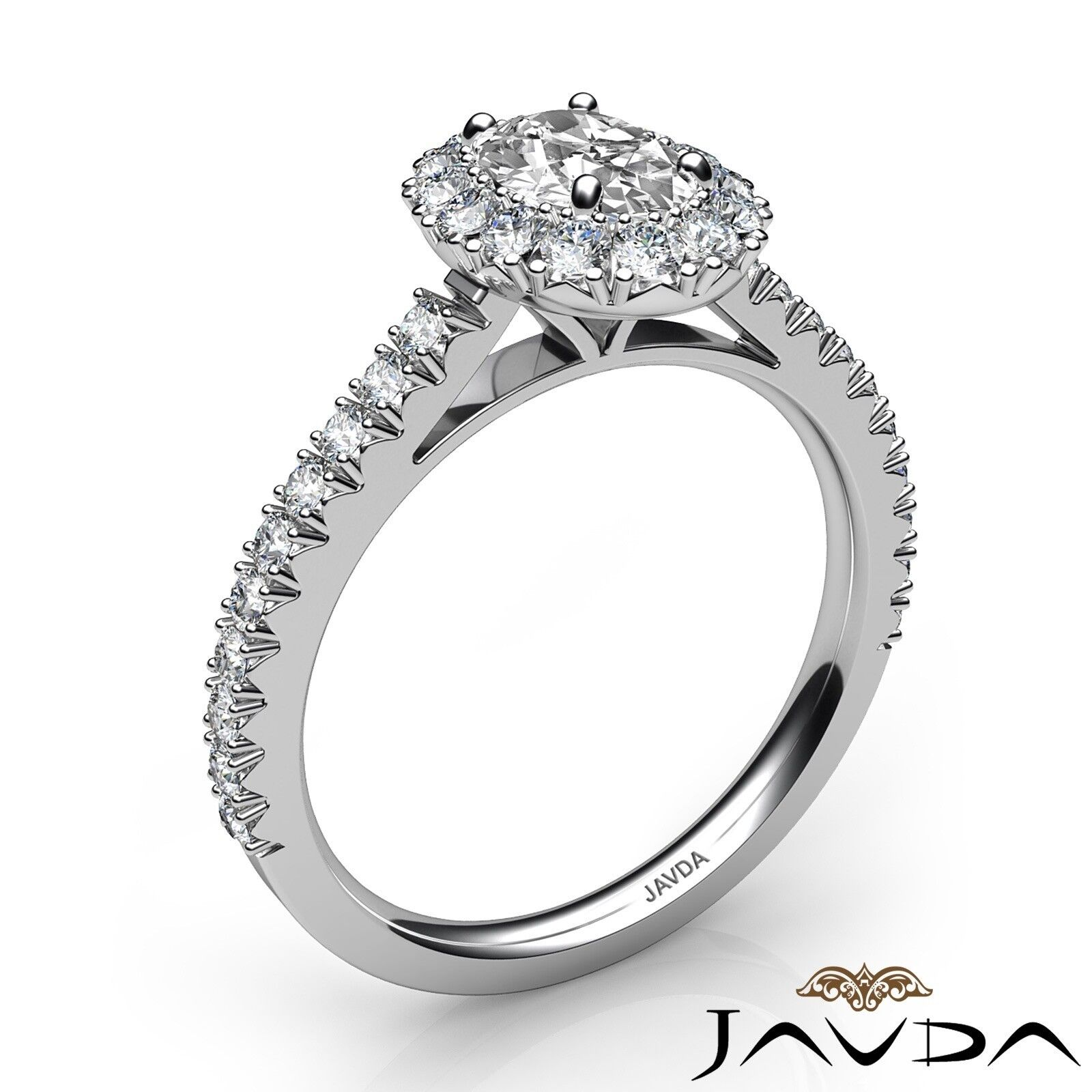 1.5ctw French V Cut Halo Pave Oval Diamond Engagement Ring GIA F-VVS2 White Gold 1