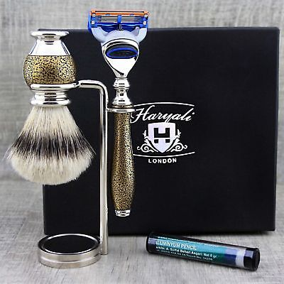 Best Shaving Kit Silver Tip Brush, 5 Edge Razor Men's Grooming Set Perfect