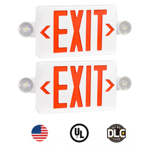 2PCS Red LED Exit Sign,UL-Listed Emergency Light -Dual Lamp ABS Fire Resistance