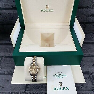 Ladies Steel & 18ct Gold Rolex Datejust with Factory Champagne Diamond Dial.