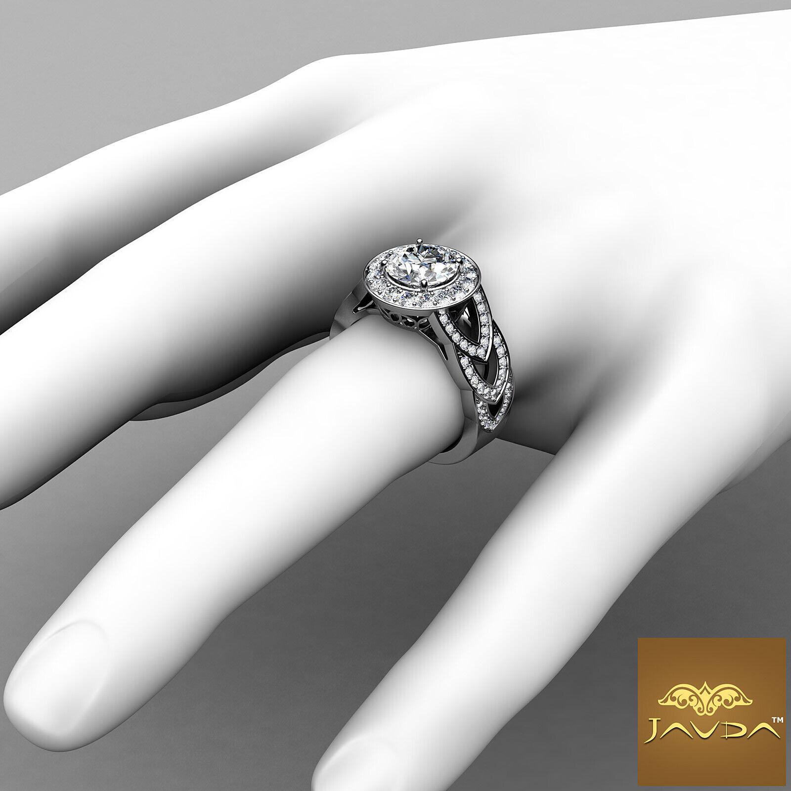 2.25ct Round Diamond Engagement Designer Halo Set Ring GIA F VVS2 14k White Gold 3