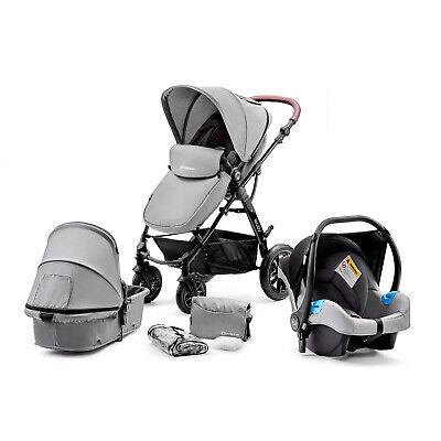 Kinderkraft Pram 3in1 Set MOOV Travel System Baby Pushchair Buggy Foldable Gray