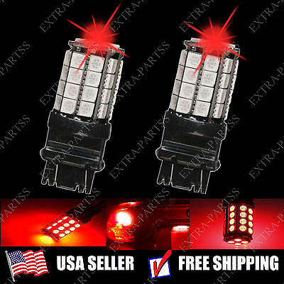 2 X Pure Red 3157 5050 36-SMD LED Light bulbs Stop Tail Brake Parking 3057 (Red Marker Turn Signal Bulbs)