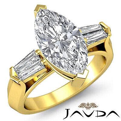 Classic Marquise Cut 3 Stone Diamond Engagement Ring GIA F SI1 Platinum 1.5 ct 3