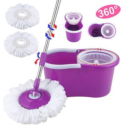 Microfiber Spinning Floor Mop 360° Rotating Easy with Bucket & 2 Heads Purple