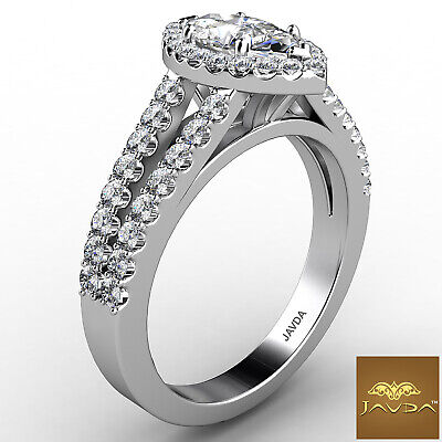 Halo Split Shank French Pave Marquise Diamond Engagement Ring GIA H VVS2 1.75Ct 6