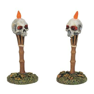 Lit Nightmares Skull Tiki Torches Figurine Dept 56 Halloween Village Accessory