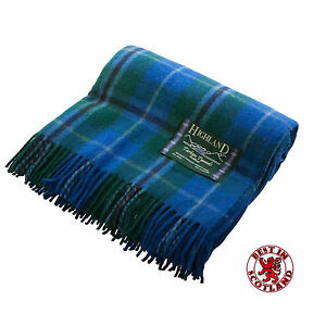 100% WOOL Throw Rug Blanket Highland Tartan Tweeds Wool. Thick, MADE IN SCOTLAND