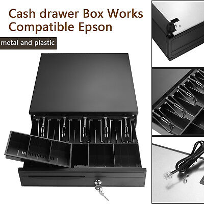 5 Bill 5 Coin Cash Register Drawer Box Works Compatible Epson Tray Pos Printers
