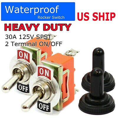 2pc 12v Heavy Duty Toggle Flick Switch Onoff Car Boat Suv Dash Light Metal Spst