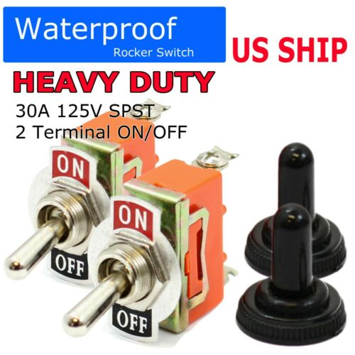 2PC 12V Heavy Duty Toggle Flick Switch ON/OFF Car Boat SUV Dash Light Metal SPST